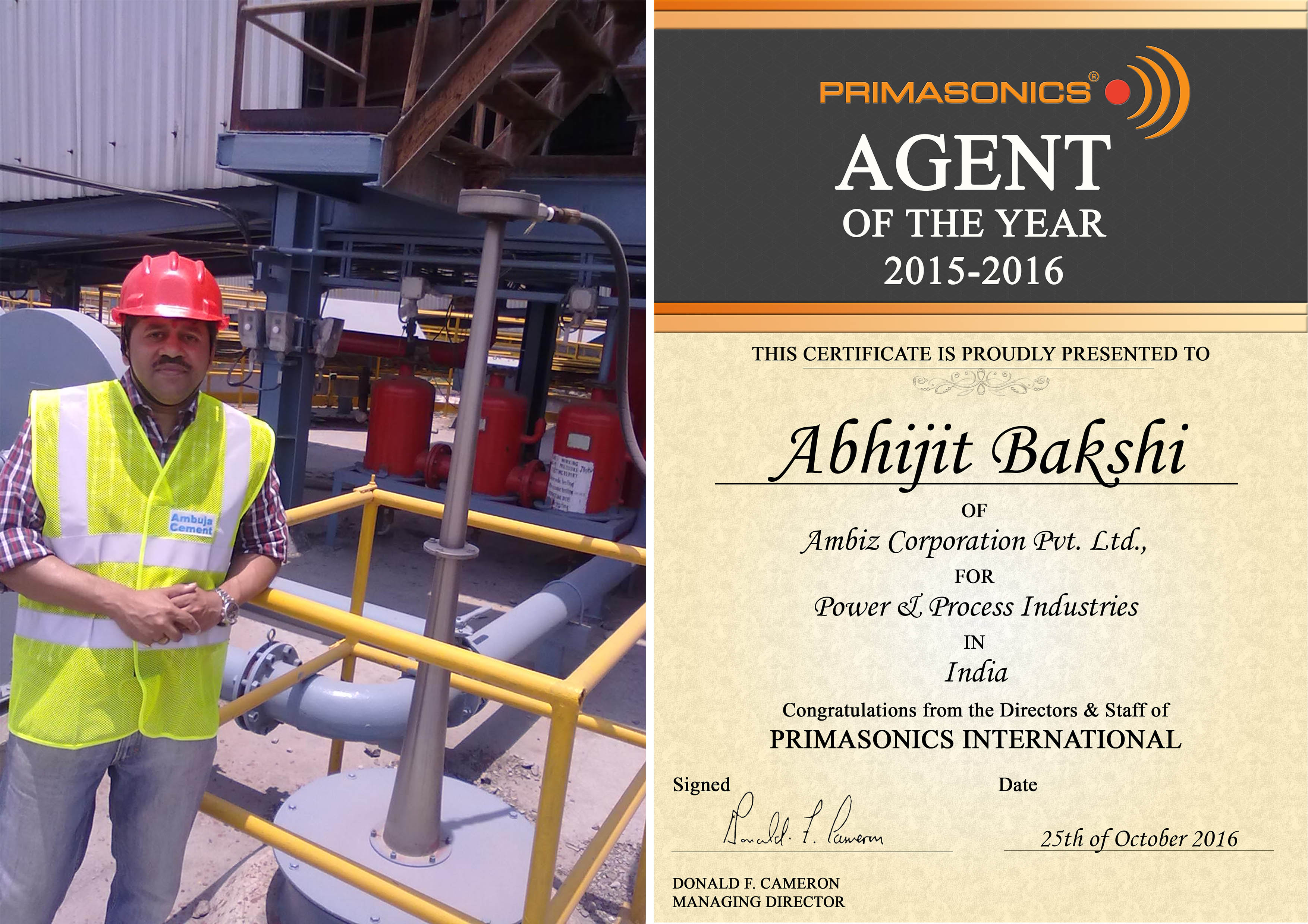 Abhijit Bakshi - Primasonics Agent of the Year 15-16