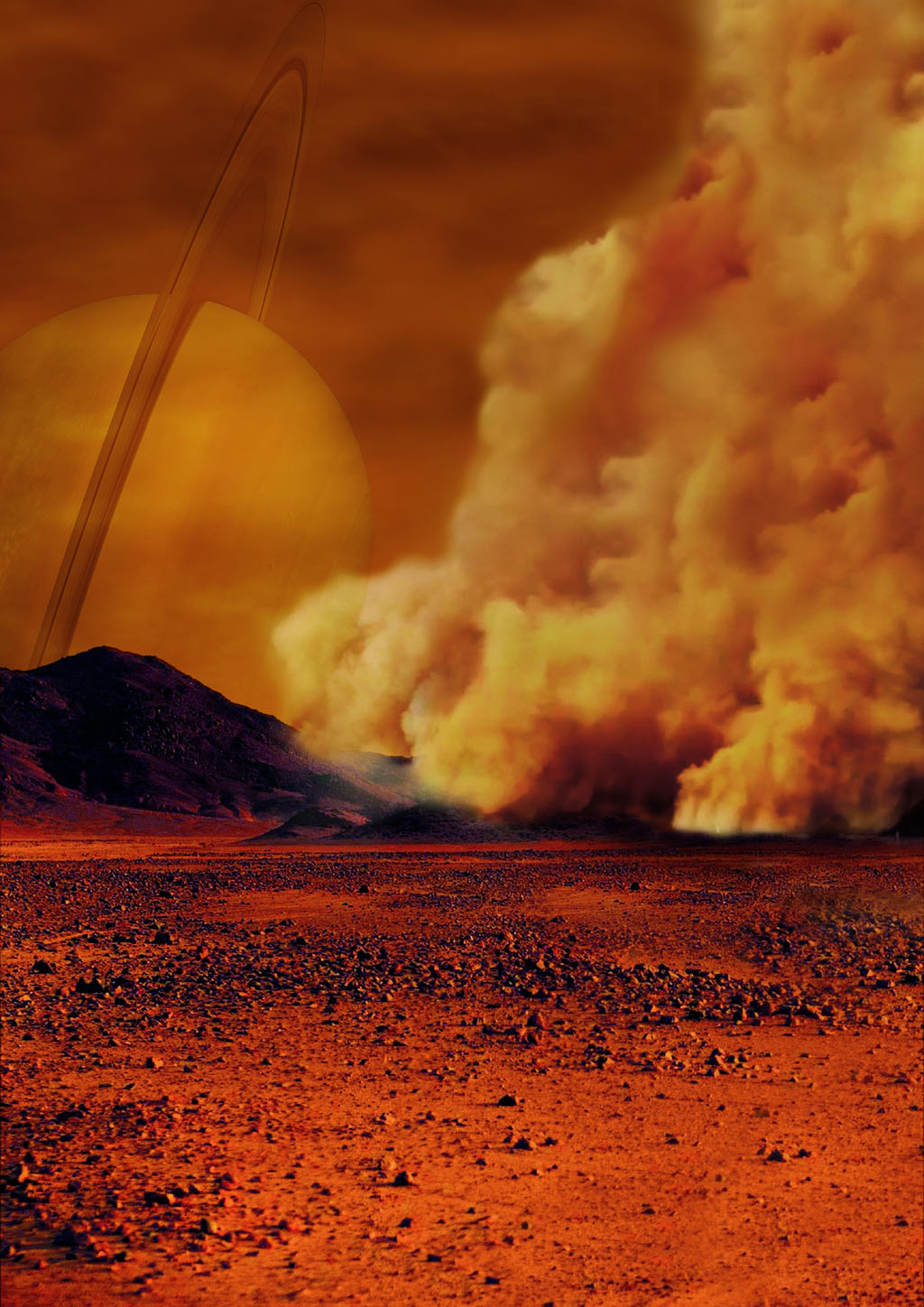 Artist's concept of a dust storm on Titan. Credit: IPGP/Labex UnivEarthS/University Paris Diderot - C. Epitalon & S. Rodriguez